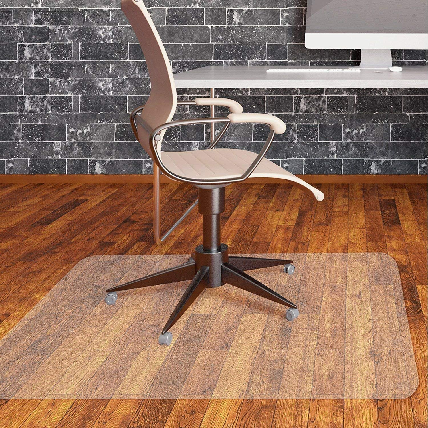 Office Chair Mat for Hardwood Floor by Somolux Computer Desk Swivel Chair PVC Plastic Mat Clear Oversized and Rolling Delivery, Protect Hard Flooring in Home and Office 48 x 36 inches Rectangle by SOMOLUX