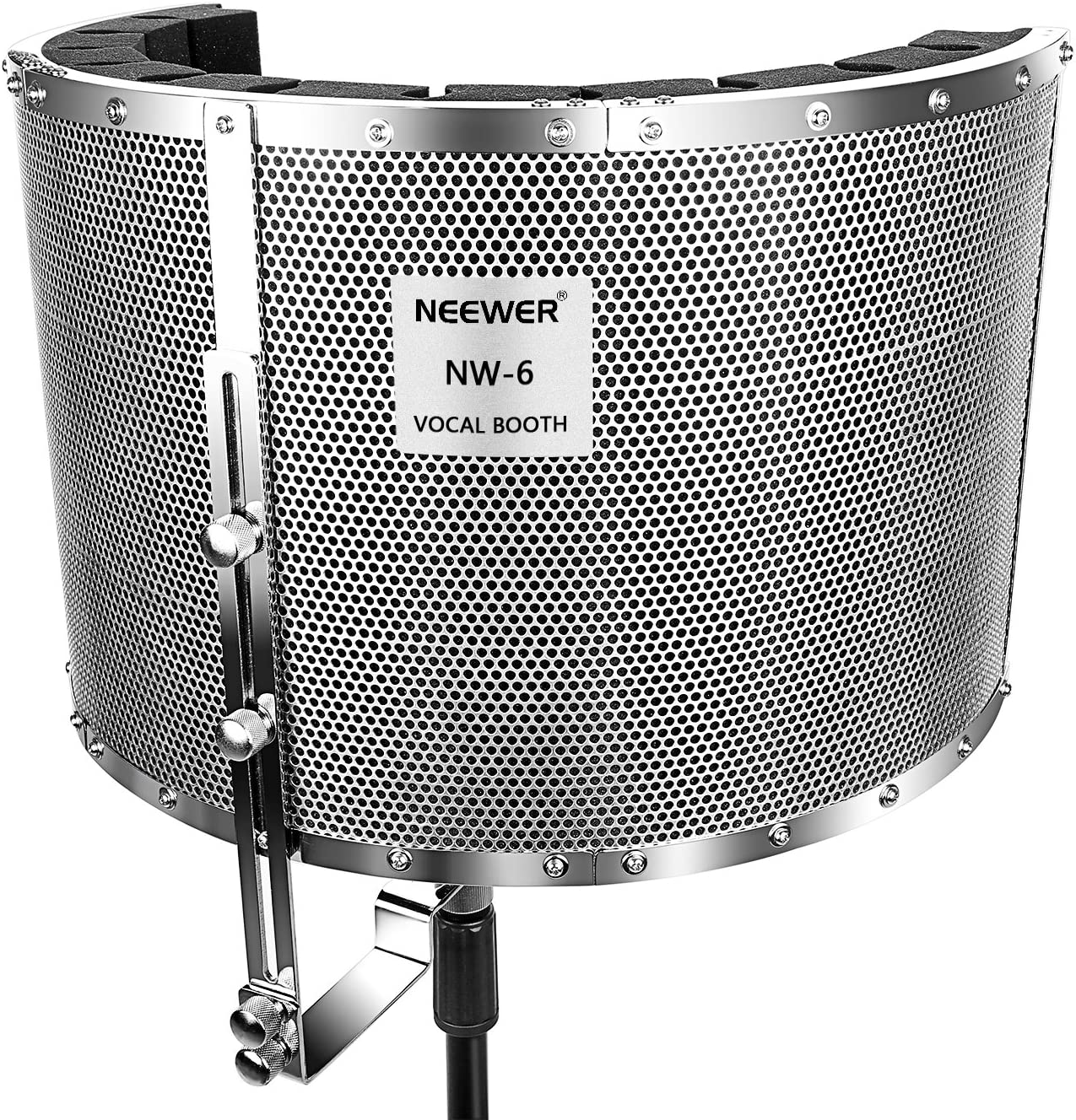 """Neewer Microphone Isolation Shield Absorber Filter Vocal Isolation Booth with Lightweight Aluminum Panel, Thick Soundproofing Foams, Mounting Brackets and Screws for Mic Stand with 5/8"""" Thread"""