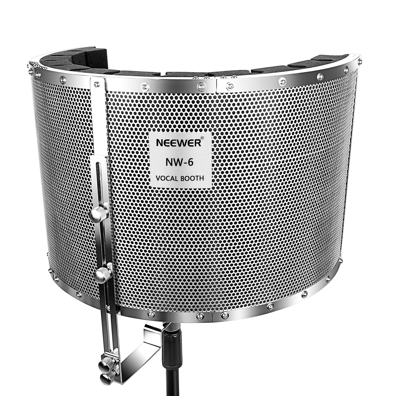 Neewer Microphone Isolation Shield Absorber Filter Vocal Isolation Booth with Lightweight Aluminum Panel, Thick Soundproofing Foams, Mounting Brackets and Screws for Mic Stand with 5/8'' Thread