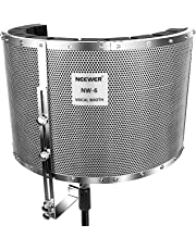 """Neewer® Microphone Isolation Shield Absorber Filter Vocal Isolation Booth with Lightweight Aluminum Panel, Thick Soundproofing Foams, Mounting Brackets and Screws for Mic Stand with 5/8"""" Thread"""