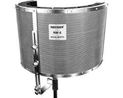 Neewer Microphone Isolation Shield Absorber Filter Vocal Isolation Booth with Lightweight Aluminum Panel, Thick Soundproofing