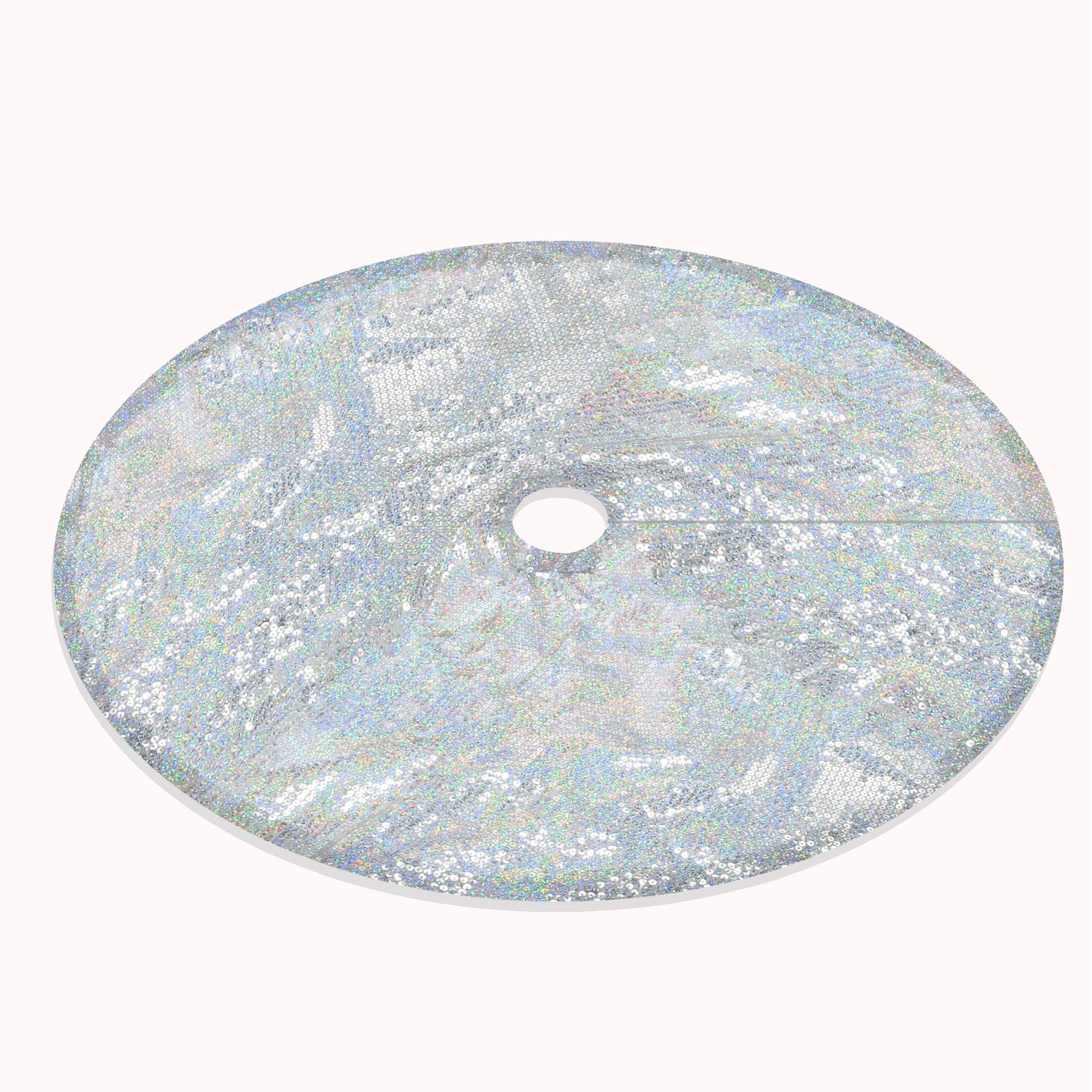 YuQi 48 Inch Round Embroidery Shimmering Sequins Christmas Tree Skirt (Sliver)