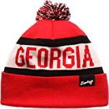 3a3bad11cfd Zephyr Football Cuffed Beanie Hat with POM POM - NCAA Slouch Cuffless Winter  Knit Toque Cap