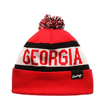 a5a0bb69110 ZHATS Georgia Bulldogs Red Cuffed Football Beanie Hat with Pom POM - NCAA  Cuffless Slouch Winter