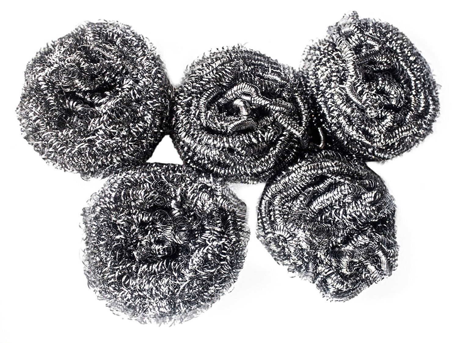 Powerful Dishwashing Metal Scouring Pads Set of 5 - Removes Grease, Oil Completely from Plates, Cups, Glassware, Baking Tins - Long Lasting Satisfaction Guaranteed!