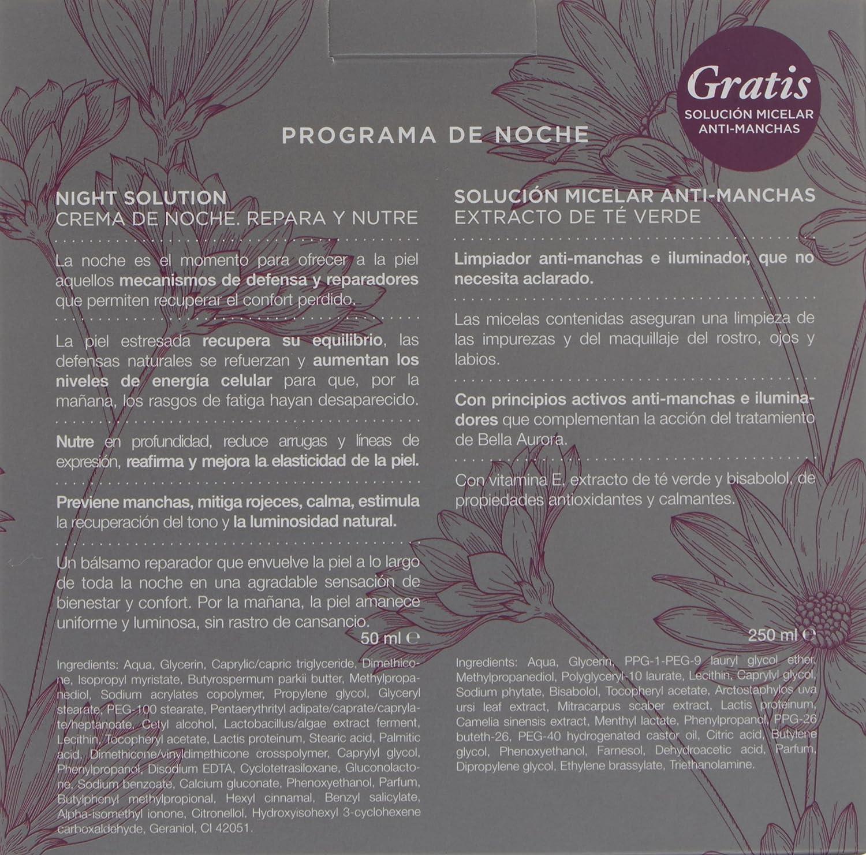 Amazon.com : BELLA AURORA NIGHT SOLUTION BALSAMO NUTRITIVO REPARADOR CREMA 50ML + BCLEAN SOLUCION MICELAR ANTI-MANCHAS 250ML : Beauty