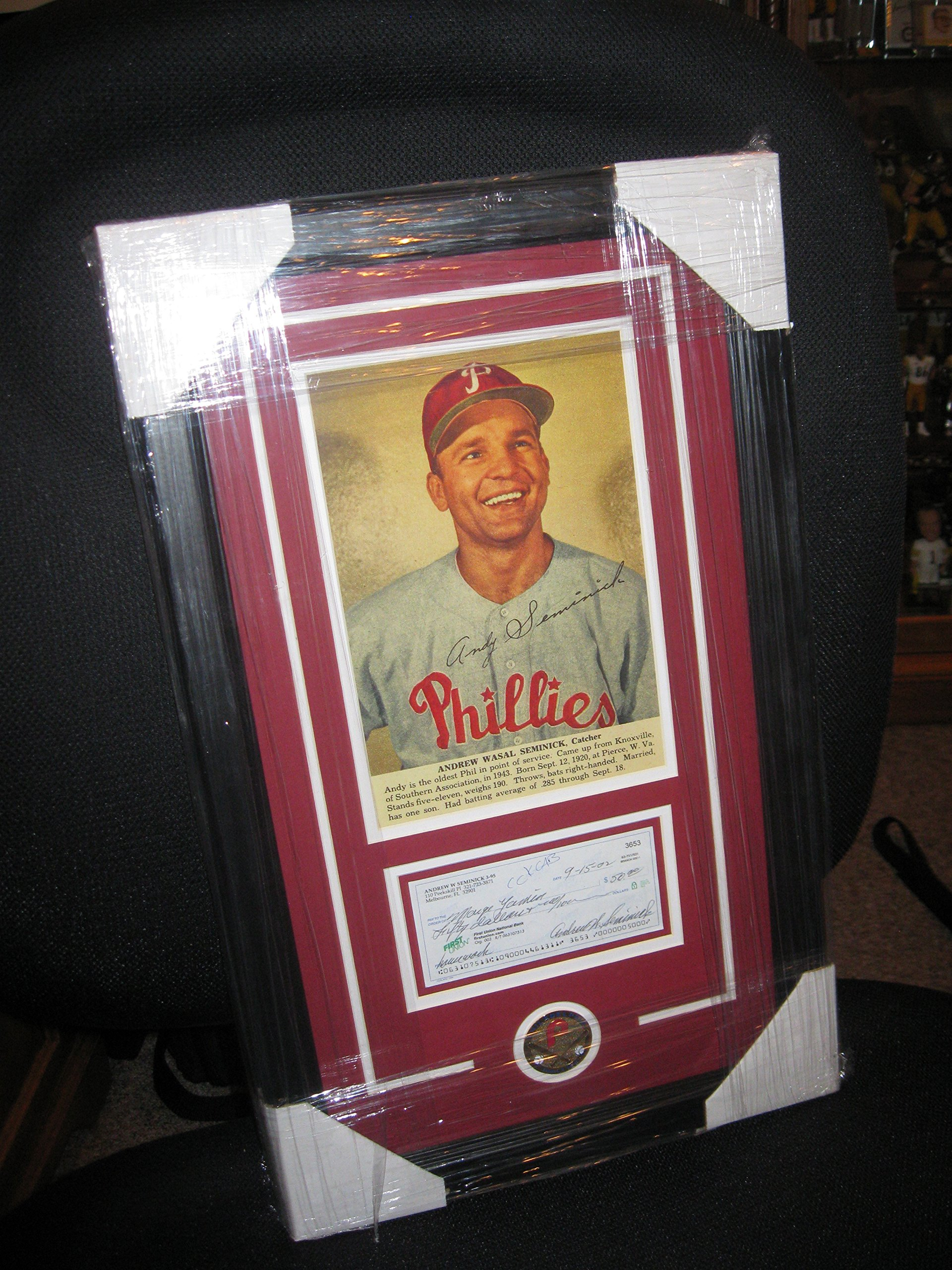 ANDY SEMINICK PERSONAL CHECK FRAMED PHILLIES
