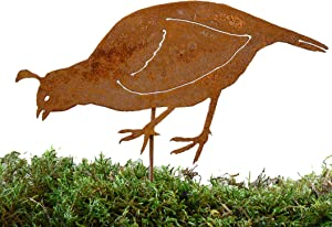 Elegant Garden Design Female Quail Stake, Steel Silhouette with Rusty Patina