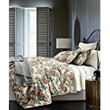 Eikei Home Chinoiserie Chic Peacock Floral Duvet Cover Paradise Garden Botanical Bird and Tree Branches Vintage Stylized Long