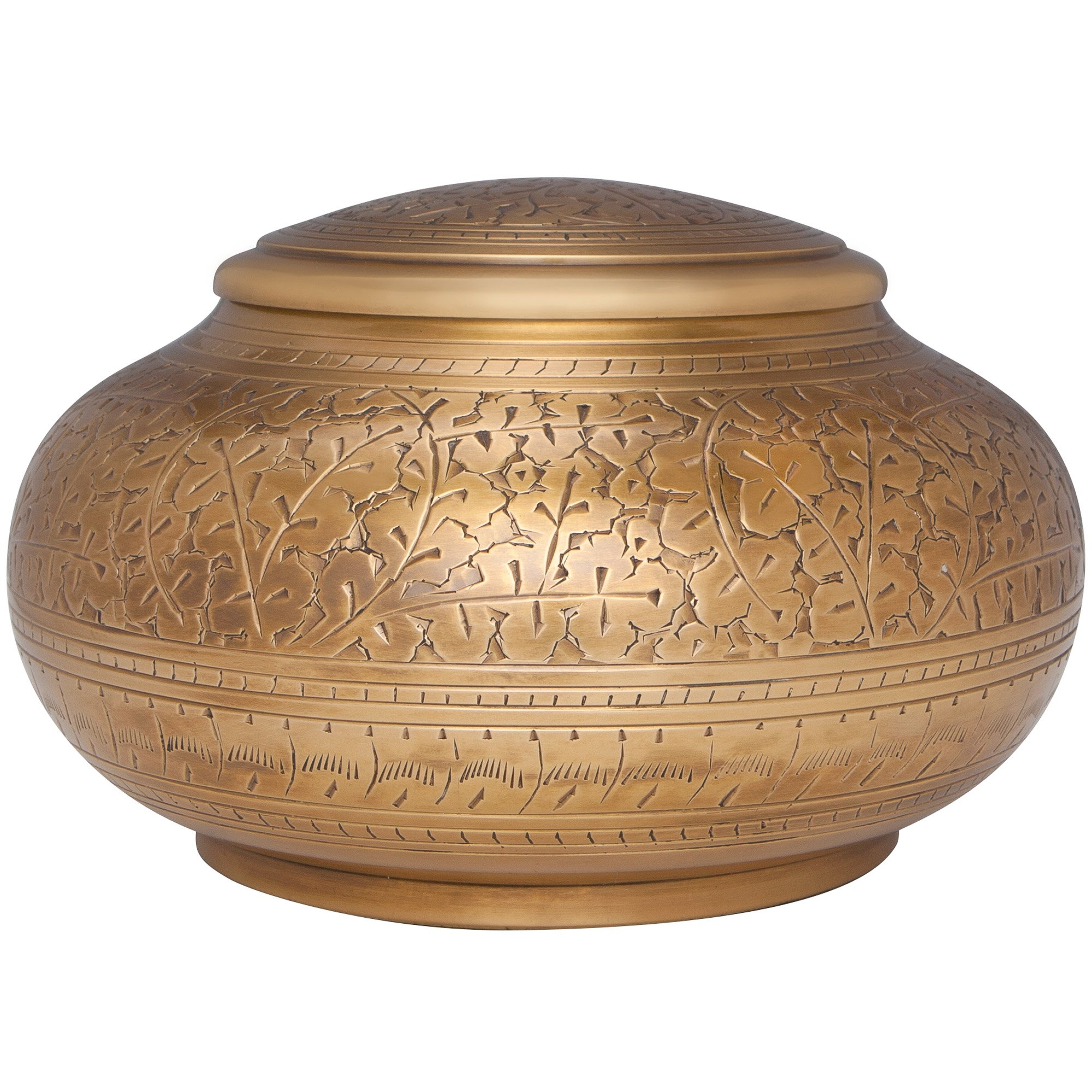 Bronze Antique Brass Funeral Urn by Liliane Memorials - Cremation Urn for Human Ashes - Hand Made in Brass - Suitable for Cemetery Burial or Niche - Large Size fits remains of Adults up to 110 lbs