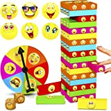 ShooBacK Tumbling Stacking Color Blocks for Kids 51 Pcs Plus Roulette and 2 Dices,Wooden Colored Toppling Stacking Board…