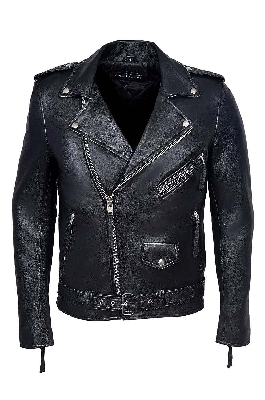BRANDO BLACK' Men's Classic Motorcycle Biker NAPPA (LAMBSKIN) Real Leather Jacket SMART RANGE