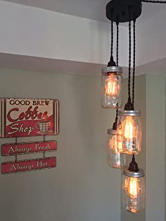 Mason Jar Chandelier Swag Light   NO Hard Wiring!! Just Hang It Up And