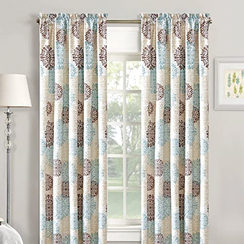 Home Soft Things Serenta Marina Medallion Printed Curtain 2 Piece Set, Dark Gray Granite, 60 x 84