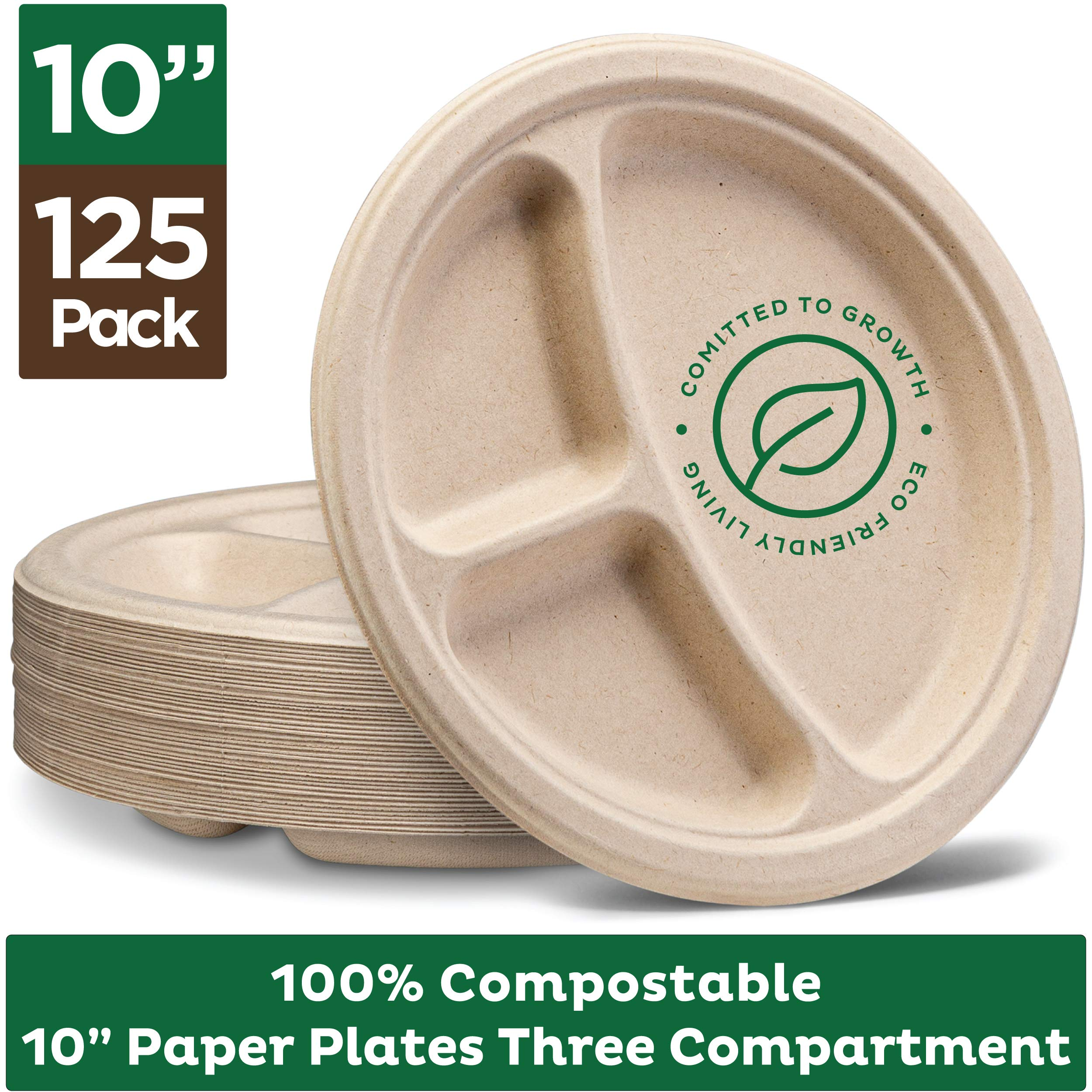 100% Compostable Paper Plates [10 inch - 125-Pack] 3 Compartment Disposable Plates Heavy-Duty Quality, Natural Bagasse Eco-Friendly Made of Sugar Cane & Wheat Straw Fibers, 10'' Biodegradable Plates by Stack Man