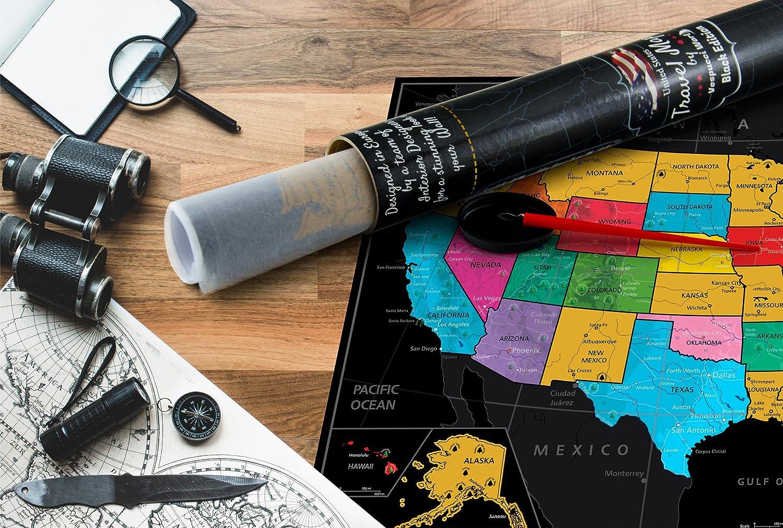 /Der Ultimate US Travel Tracker von Vespucci World/ Poster Gr/ö/ße 59,4/x 41,9/cm /Kommt mit Lebenslange Zufriedenheitsgarantie Laminiert USA Scratch Map Off/