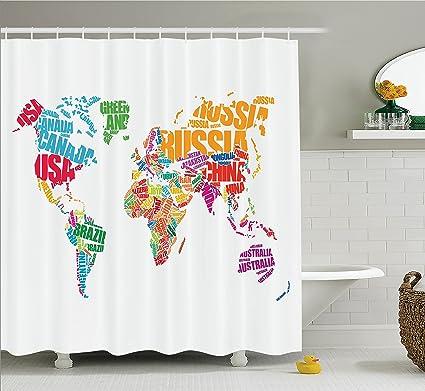 Amazon ambesonne wanderlust decor shower curtain set world map ambesonne wanderlust decor shower curtain set world map with names of the countries europe america gumiabroncs Gallery
