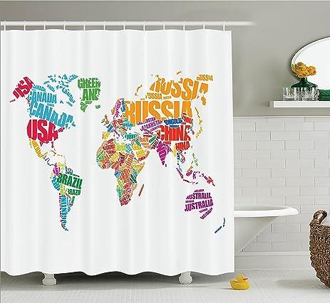 Amazon wanderlust decor shower curtain set by ambesonne world wanderlust decor shower curtain set by ambesonne world map with names of the countries europe gumiabroncs Gallery