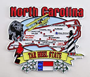 North Carolina State Elements Map Fridge Collectible Souvenir Magnet