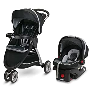 Graco FastAction Fold Sport Travel System | Includes the FastAction Fold Sport 3-Wheel Stroller and SnugRide 35 Infant Car Seat, Gotham