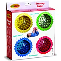 Edushape Textured Balls Sensory See Me Ball Kids' Toys, See-Me Primary, 4 Pieces