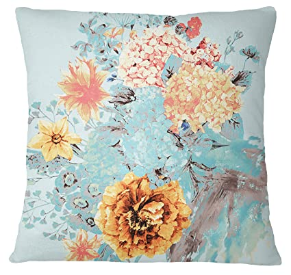 S4Sassy Decorative Floral Print Off White Cushion Case Square Pillow Cover Throw