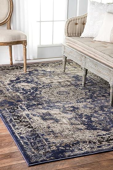High Quality Floral Mosaic Medallion Blue Vintage Area Rugs, 4 Feet By 6 Feet (4u0027