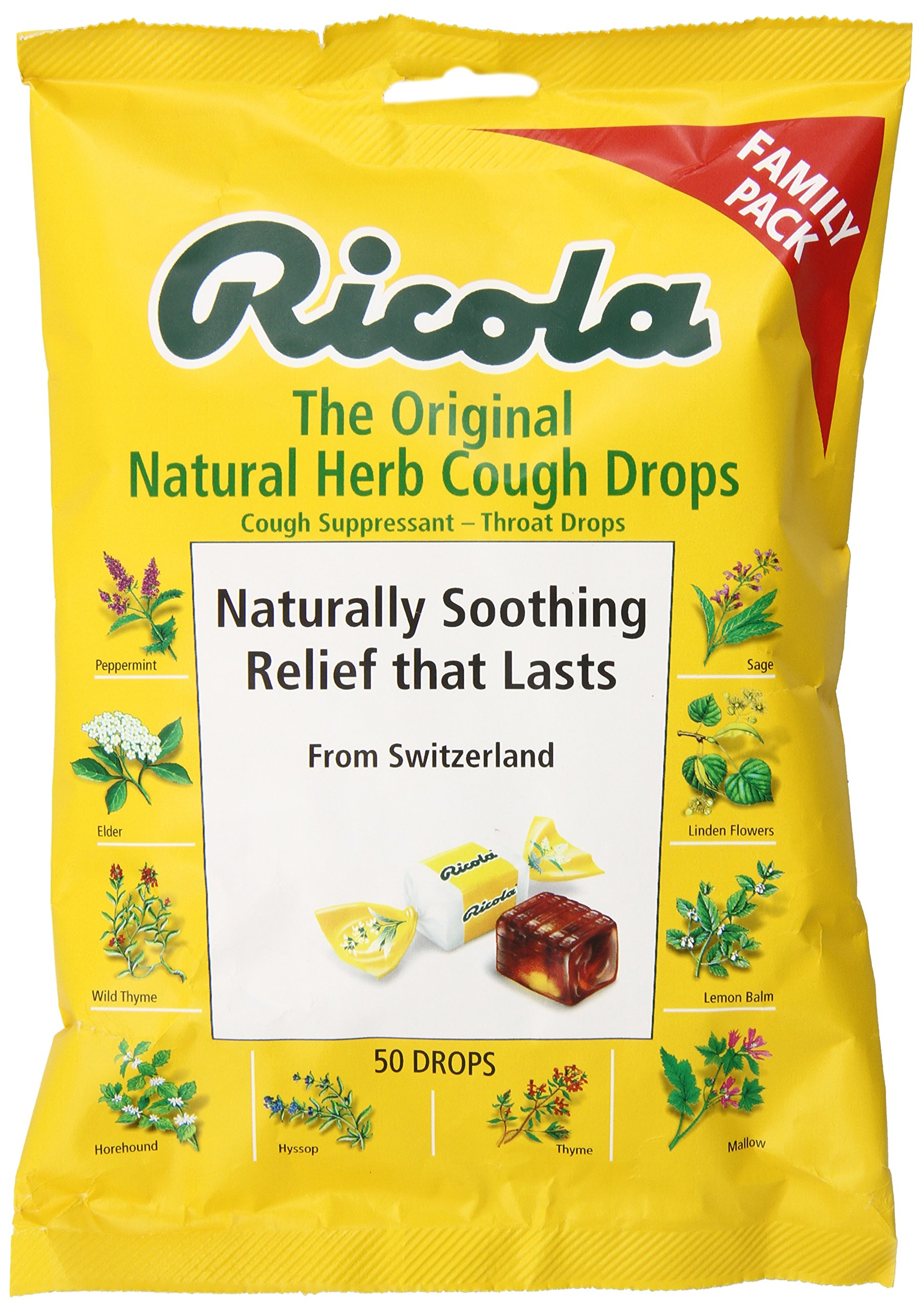 Ricola Big Bag Original Natural Herb Cough Drops, 50-Count Bags (Pack of 12) by Ricola