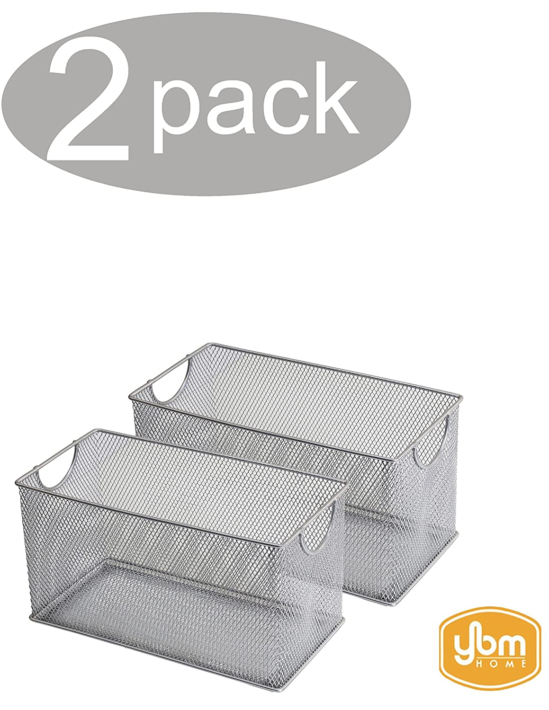 YBM HOME Household Wire Mesh Open Bin Shelf Storage Basket Organizer for Kitchen, Cabinet, Fruits, Vegetables, Pantry Items Toys 1134s-2 (2, 10.75 x 5.5 x 6.5)