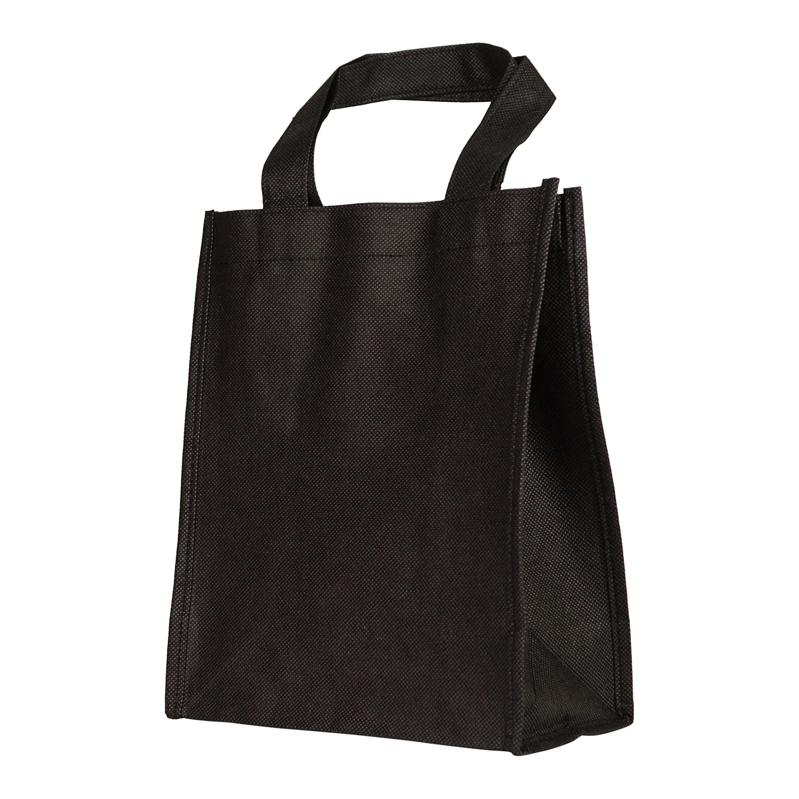 NuFazes 8'' x 10'' Mini Shopping Reuseable Cute Gift Tote Bag - Black (2 Pack)