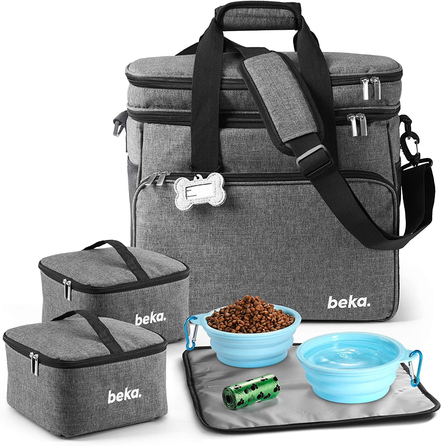 beka. Dog Travel Bag - Dog Travel Kit with 2 Collapsible Silicone Bowls, 2 Food Containers, Multi-Use Pockets for Pet Accessories - Ideal Mobile Dog Gear Weekender - Organizer Tote for Dogs or Cats