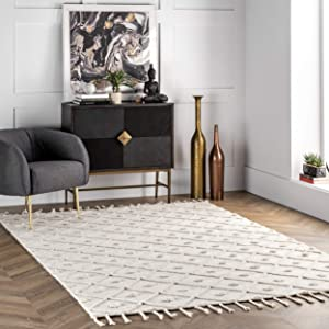 nuLOOM Jinny Trellis Wool Rug, 3' x 5', Ivory