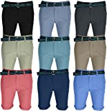 AFS Mens Chino Shorts Belted Half Pant Cargo Combat Jeans Pant with Free Belt