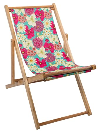 Genial Hothouse 73340 Floral Wooden Framed Deck Chair   Multi Colour