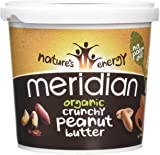 MERIDIAN FOODS - No GM Soya Organic Peanut Butter Crunchy 100% NUts 1kg (PACK OF 1)