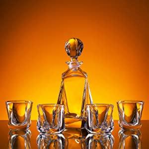 """Whiskey Decanter Gift Set """"Soho"""" 5-Piece (1 Carafe + 4 Glasses) incl. Lucky Coin in Box. Premium 100% lead-free Crystal Glass for Liquor, Bourbon, Scotch. Dishwasher Safe – AdamFranklin1881"""