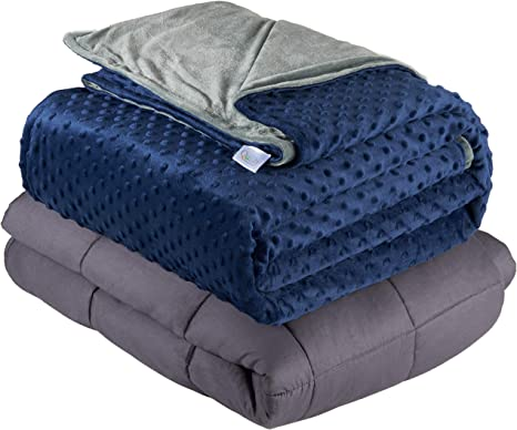 Queen//King Size Bed 20 lbs, 60x80 Weighted Blanket for Adult 100/% Cotton Velvet Cover for Individual Between 190-240 lbs Premium Glass Beads