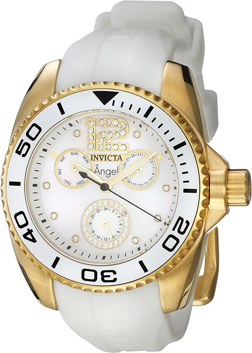 Invicta Women s Angel Quartz Watch with Silicone Strap, White, 20 Model 21703