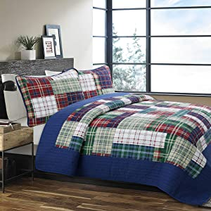 Cozy Line Home Fashions Nate Patchwork Navy/Blue/Green/Red Plaid Cotton Quilt Bedding Set, Reversible Coverlet,Bedspread for Boy/Men/Him (England Patchwork, Twin - 2 Piece)