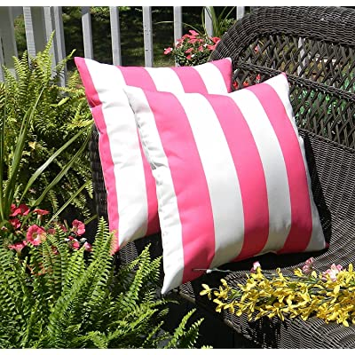 "Resort Spa Home Decor Set of 2 Indoor/Outdoor 20"" Decorative Throw Pillows - Preppy Pink & White Stripe: Home & Kitchen"