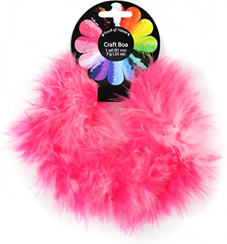 1-Yard Pink Mix Touch of Nature 1-Piece Feather Marabou Craft Boa for Arts and Crafts