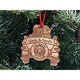 Bride and Groom in Car - Just Married 2018 - Custom Engraved Newlywed Christmas Ornament,