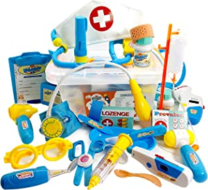 Skoolzy Doctor Kit for Kids with Xray- 29 pc Dr Playset with Realistic Sound Effects - Pretend Play Medical Doctor's Toy Set   Best for 3, 4, 5, and 6 Year Olds Girls and Boys