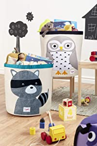 3 Sprouts Canvas Storage Bins - Laundry and Toy Basket for Baby and Kids, Woodland Set