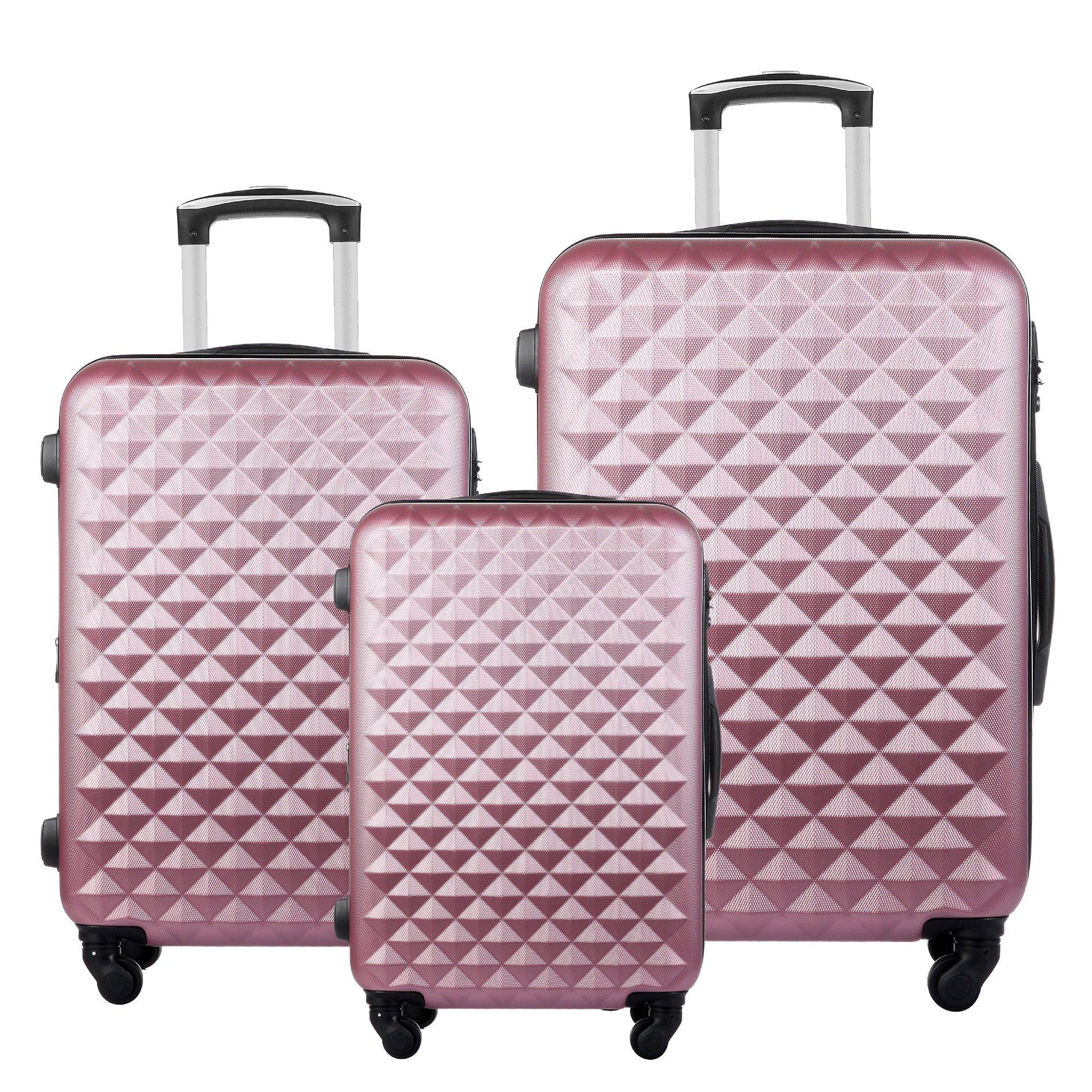 3 Piece Luggage Set Durable Lightweight Hard Case Spinner Suitecase LUG3 LY20 PINK