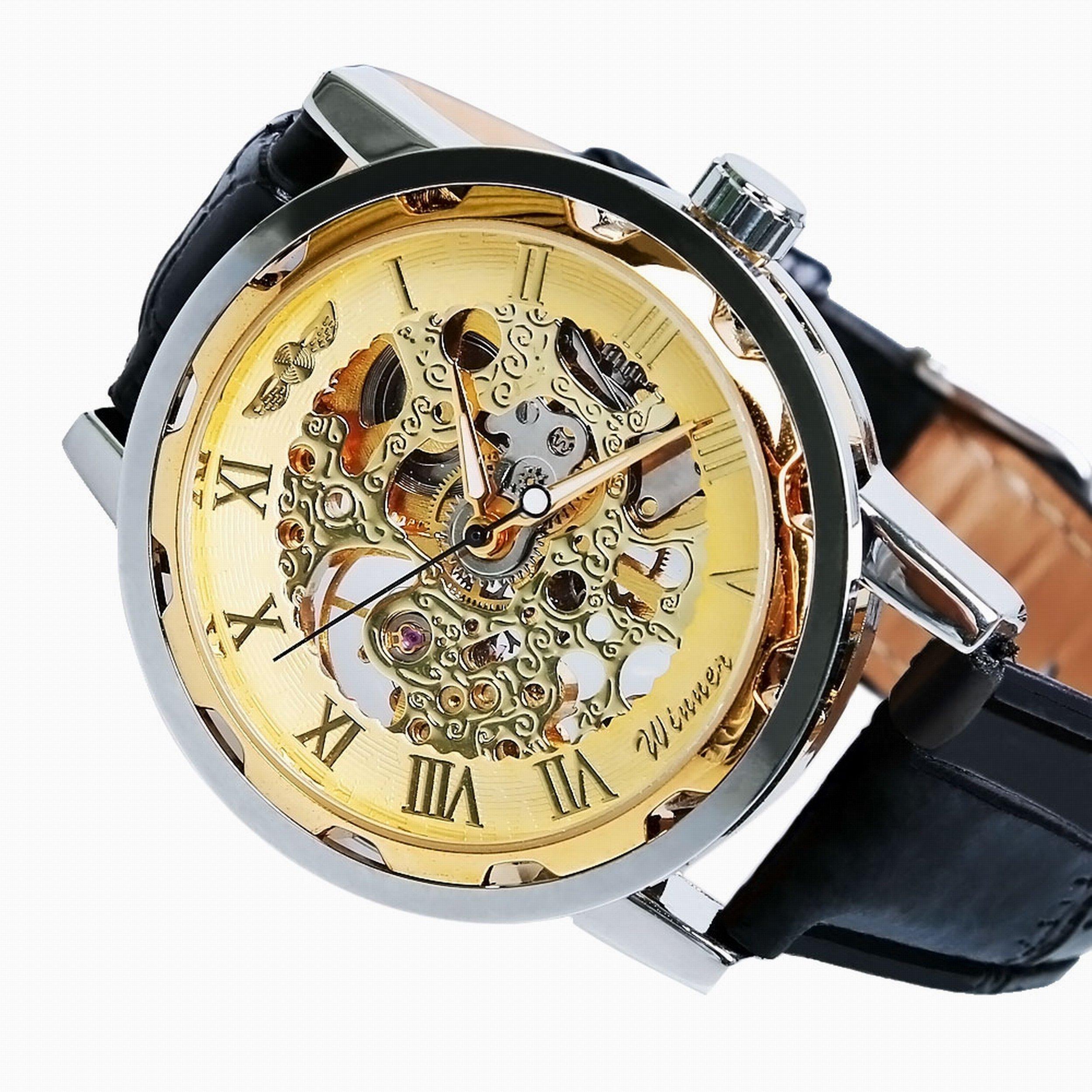 Vavna Classic Men's Leather Dial Skeleton Mechanical Sport Army Wrist Watch (Gold) (Black)