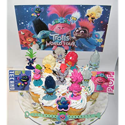 Trolls World Tour Movie Deluxe Cake Toppers Cupcake Decorations 14 Set with 10 Figures, 2 Decorative Stickers Featuring Branch, Poppy, Queen Barb and More!: Toys & Games