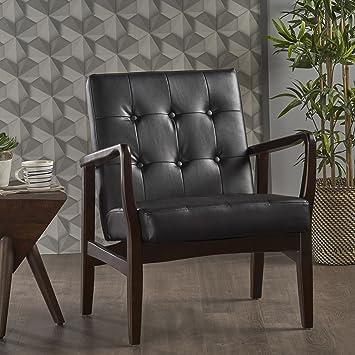 Remarkable Christopher Knight Home Conrad Mid Century Modern Arm Chair In Black Faux Leather Inzonedesignstudio Interior Chair Design Inzonedesignstudiocom