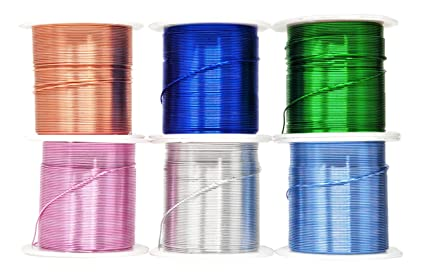 Mandala Crafts Anodized Aluminum Wire For Sculpting Armature Jewelry Making Gem Metal Wrap Garden Colored And Soft Assorted 6 Rolls 22 Gauge