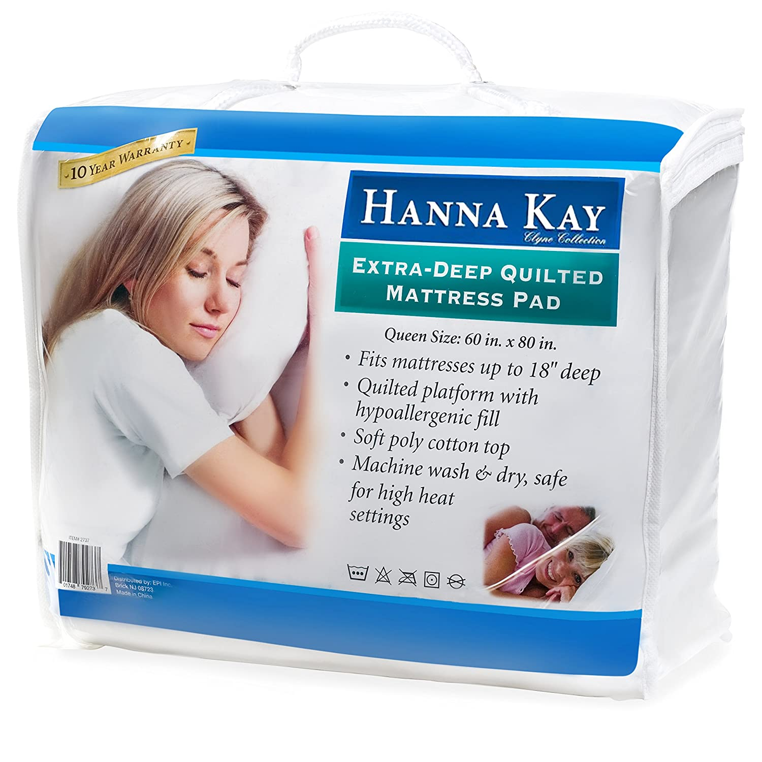 Amazon.com: Hypoallergenic Quilted Stretch-to-Fit Mattress Pad By Hanna  Kay, 10 Year Warranty-Clyne Collection (Queen): Home & Kitchen